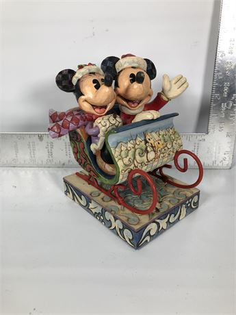 "Disney Jim Shore Mickey & Minnie Mouse ""Old Fashioned Sleigh Ride"""